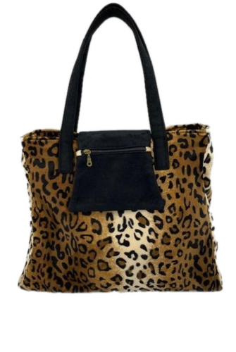 Rose Leopard Print Shoulder Bag with Zipped Closure - Weekend Bag