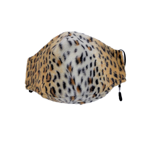 Animal Print Face Mask in Cheetah Print Faux Fur