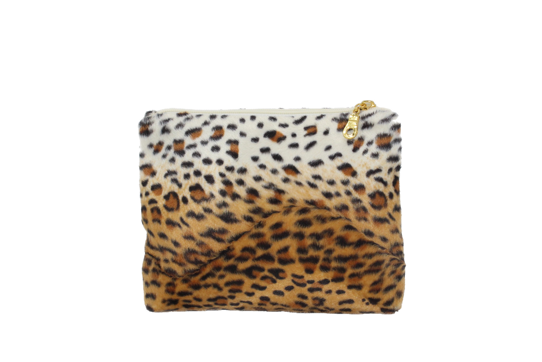 Cheetah Print Faux Fur Cosmetic Bag
