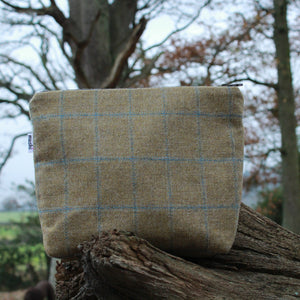 British Tweed Makeup Bag - Tan Brown Toiletry & Cosmetic Purse
