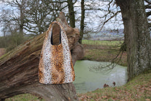 Load image into Gallery viewer, Faux Fur Cheetah Print Shoulder Bag - Animal Print Slouch Bag