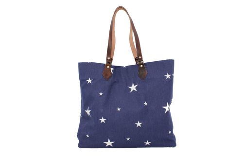 Tote in Cotton Canvas Navy & White Star