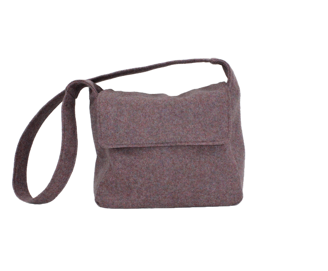 Jessamine British Tweed Crossbody Bag - Pink Heather