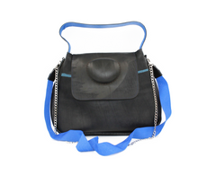 Load image into Gallery viewer, Black Shoulder Bag - Recycled Inner Tube Handbag