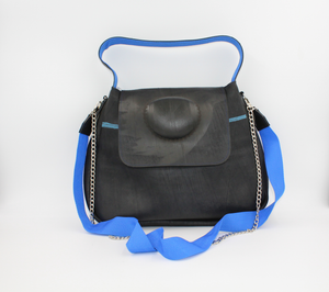 Black Shoulder Bag - Recycled Inner Tube Handbag
