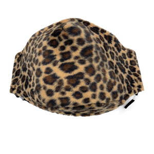 Animal Print Face Covering in Sand Leopard Faux Fur