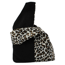 Load image into Gallery viewer, cream leopard and black panel boho bag