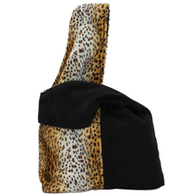 Load image into Gallery viewer, cheetah print and black boho bag