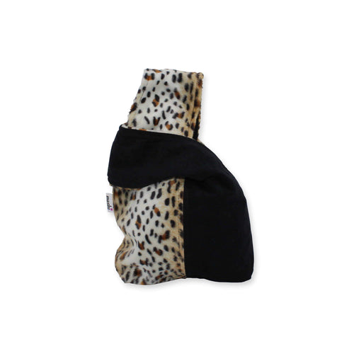 small wrist bag in animal print & black contrast