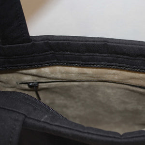 Suede Effect Lining Detail showing Internal Zipped Pocket