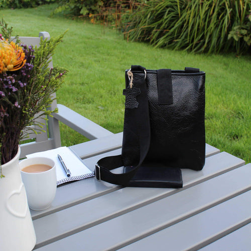 Black document bag made from genuine leather