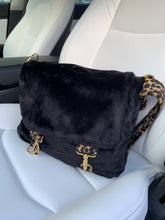 Load image into Gallery viewer, black_faux_fur_satchel_design