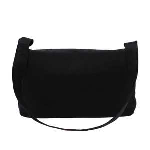 Black Messenger Bag - Cotton Canvas Crossbody Style
