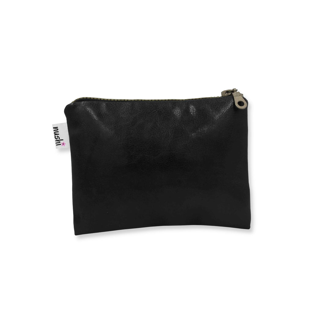 Black faux leather purse with zipper