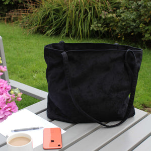 Black tote bag in suede effect fabric