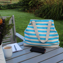 Load image into Gallery viewer, Beach bag in blue striped canvas