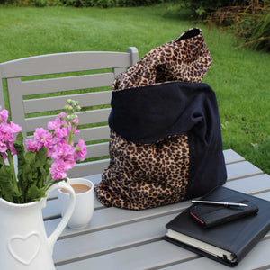 boho bag in black and animal print