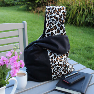 boho bag in black with leopard print contrast