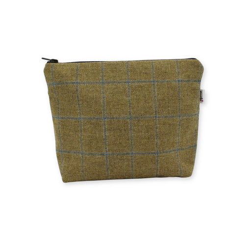 Brown British Tweed makeup bag