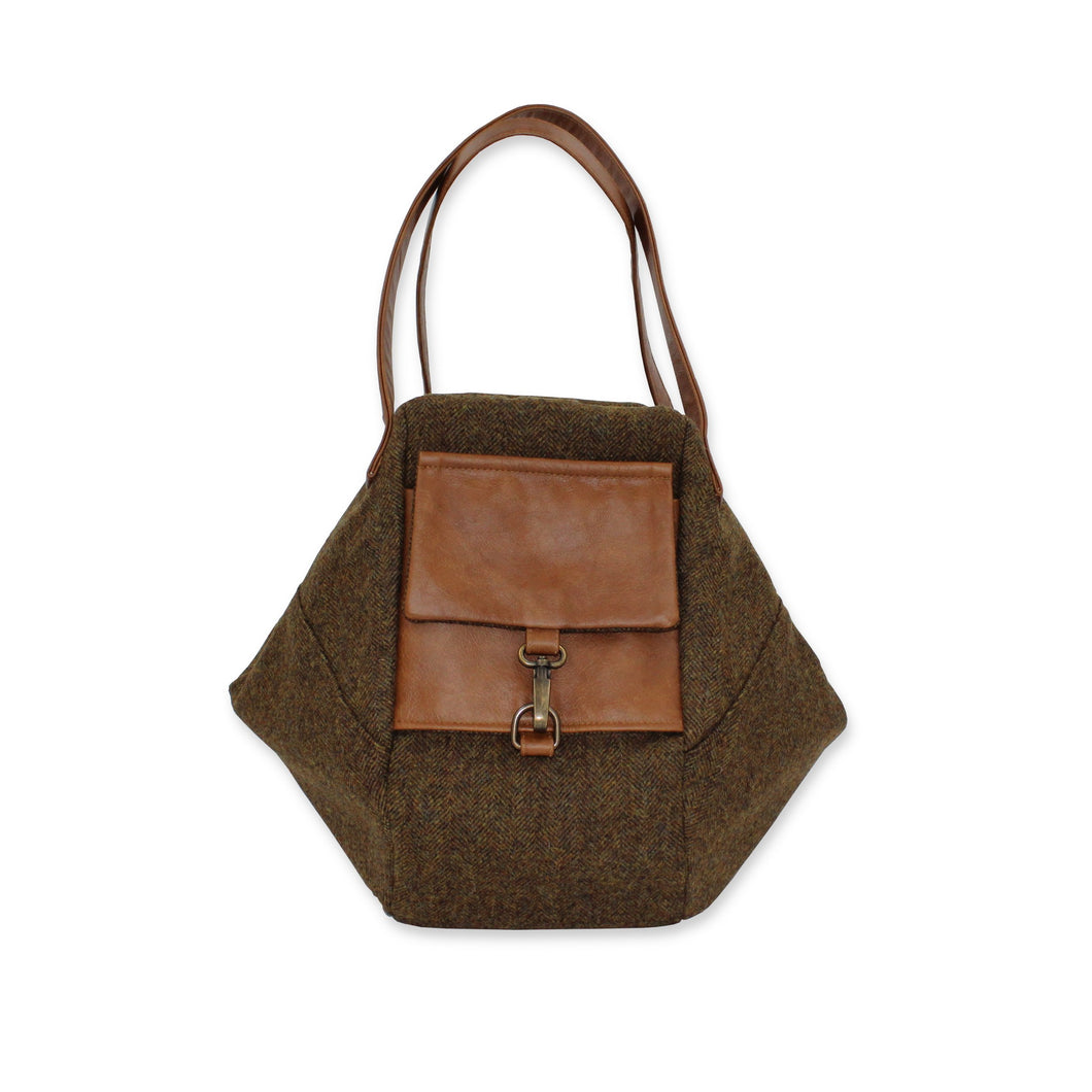Boho bag in chestnut brown British tweed and leather