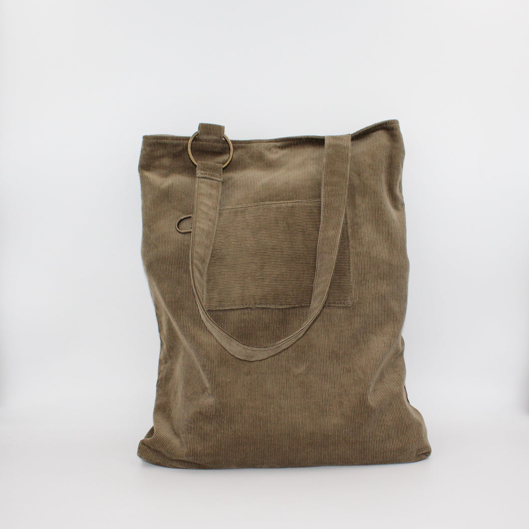 Brown Corduroy Large Slouch Bag or Shopping Bag, Unique, Handcrafted