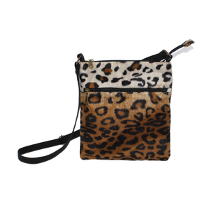 Animal Print Brown Leopard Cross Body Bag - Orchid