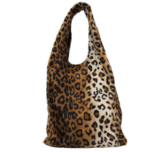 Load image into Gallery viewer, Brown Leopard Print Shoulder Bag - Animal Print Slouch Bag