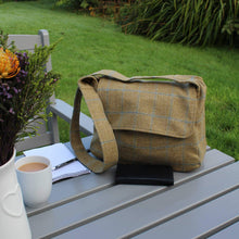 Load image into Gallery viewer, Crossbody bag in tan brown British tweed