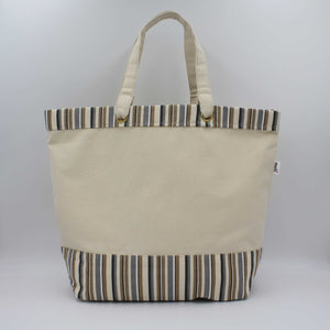Canvas tote bag with cappuccino brown stripes