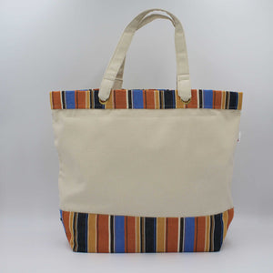 Canvas tote bag with pumpkin orange stripes
