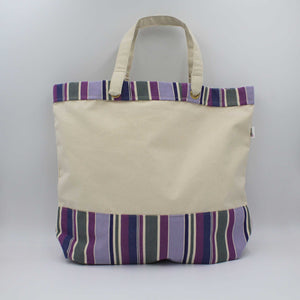 Canvas tote bag with violet purple stripes