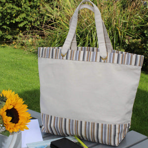 Cotton canvas tote bag with capuccino stripes