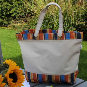 Cotton canvas tote bag with pumpkin orange and blue stripe