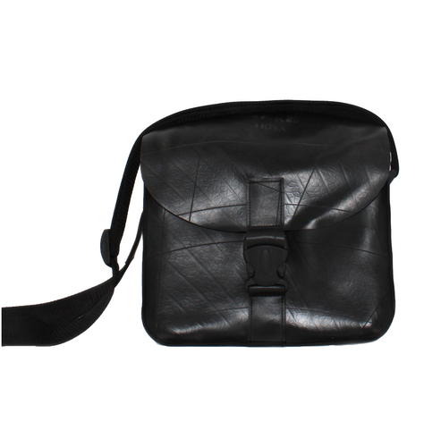 Black Recycled Inner Tube - Eco-Friendly Cartridge Bag