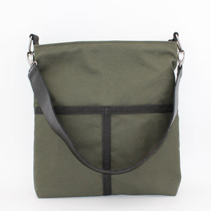 Chive Green Waxed Cotton Shoulder Bag