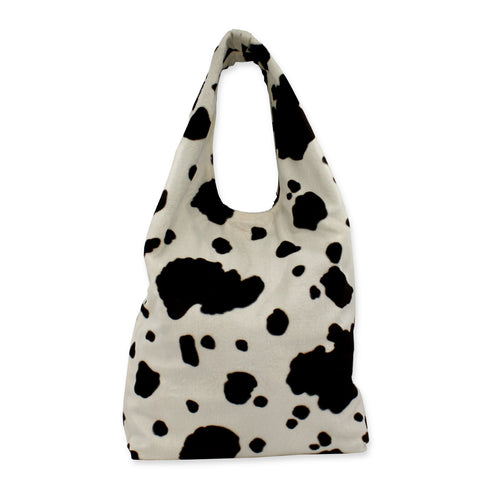 Cow print slouch bag - cream and brown cow print faux fur