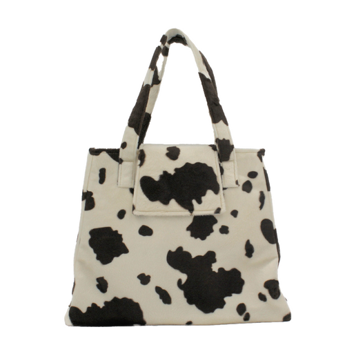 Faux Fur Shoulder Bag - Brown and Cream Cow Print Handbag