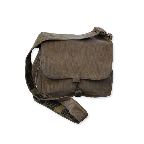 Crossbody bag in brown corduroy with tropical leaf lining