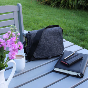 crossbody bag in grey wool with adjustable strap