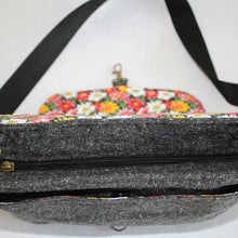 Load image into Gallery viewer, Black & Grey Wool Crossbody Bag Zip View
