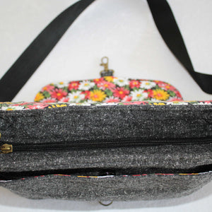 Black & Grey Wool Crossbody Bag Zip View