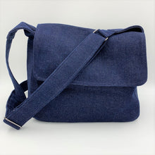 Load image into Gallery viewer, Denim Messenger Bag - Navy Blue Cotton Canvas Crossbody Bag