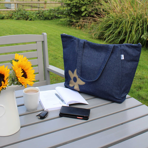 denim shopper bag with daisy applique