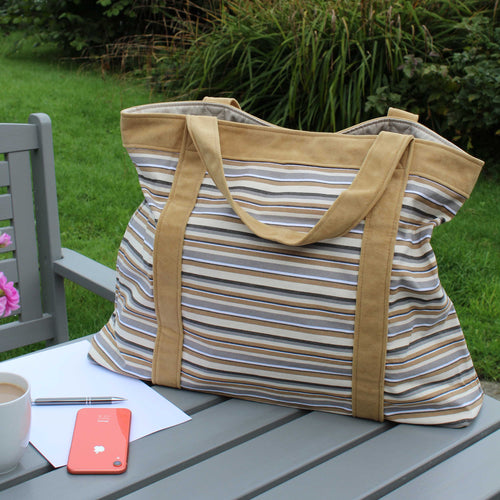 Extra large beach bag in mustard & grey stripes