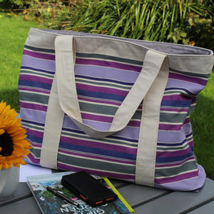 Extra large beach bag with purple stripe