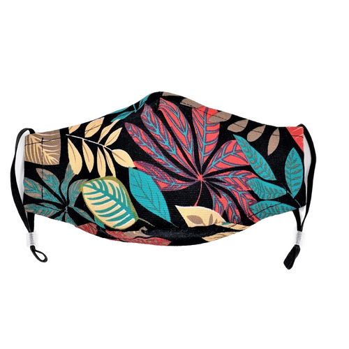 Tailored Face Mask in Tropical Print Cotton Canvas