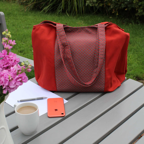 Rust Orange Tote Bag with Geometric Panel