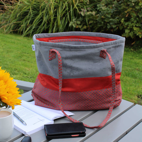 Tote bag with geometric panel in orange and grey