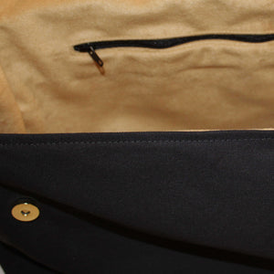 Gold Suede Effect Lining Detail showing Internal Zipped Pocket