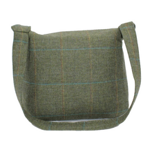Load image into Gallery viewer, Olive British Tweed Crossbody Bag - Back View
